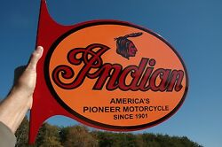 Old Style Indian Motorcycle Scout Chief Cheiftain Bike Steel Flg Sign Usa Made