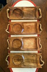 Set Of 4 Wood Soup/sandwhich Teakwood Serving Trays W/ Rope Handles Cottagecore