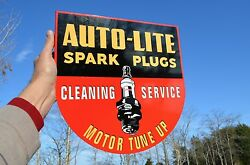 Old Style Auto Lite Spark Plug Automotive Flange Sign Thick Steel Made In Usa