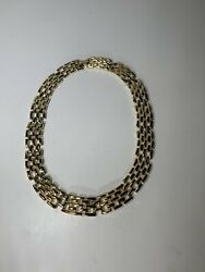 Vintage Panther Link Necklace Gold Tone Chain Chunky Multi Strand Flip Over 18quot;