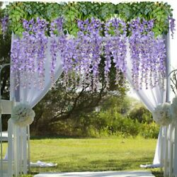 12 Pack Silk Artificial Ivy Leaves Wisteria Flower Garlands Hanging For Kitchen