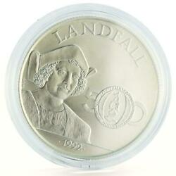 Jamaica 25 Dollars Discovery Of America Landfall Columbus Silver Coin 1992