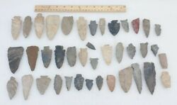 Lot Of 40 Tennessee Authentic Indian Arrowheads