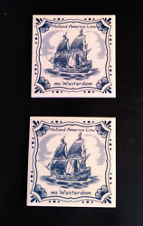 Ms Westerdam Delft Blue Porcelain Coasters 2. Tall Ship Image. Mint Condition