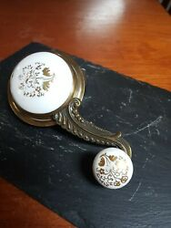 Victorian Porcelain And Brass Servants Bell Pull