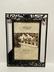Fetco Home Decor Flowers Metal Picture Frame 8quot; Tall Fits photo 4quot; × 6quot;
