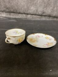Vintage Haviland Cup And Saucer Yellow Roses W/ Enamel Uid Set Of 2