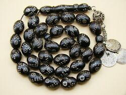 Old Real Antique Rare Black Coral Yusr Subha Necklace Rosary Prayer Beads 60 Gr