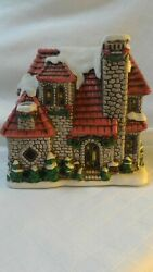 Lefton Colonial Christmas Village Stone House 06338 Holiday 1987 C2