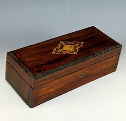 Antique French Inlaid Wood Glove Box