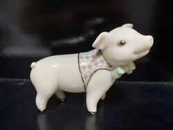 Lenox China Pig Figurine Sadieandrsquos Sunday Best Boy Pig In Vest And Bow Tie - No Box
