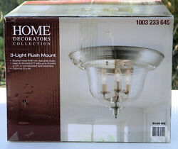 Home Decorators Collection 15 in. 3 Light Brushed Nickel Flush Mount with Clear