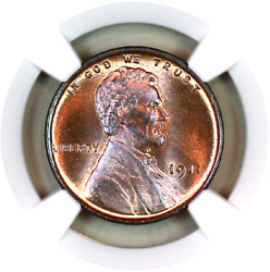 1911-p Ms66 Rb Ngc Lincoln Wheat Penny Registry Quality Collection