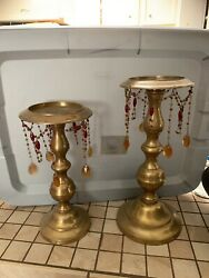 Vintage Brass Candle Holders With Beaded Hanging Decor