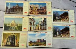 8 Vintage Along The Way Of Twa Airlines Postcards Aviation Advertising Linen Lot