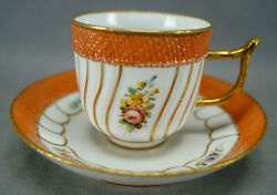 18th Century Comte Dand039artois Paris Hand Painted Floral Orange And Gold Coffee Cup
