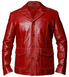 Fight Club Brad Pitt Tyler Durden Real Leather Jacket Red Fc Coat 2021