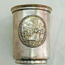 Vintage Brass Silver Plated Mayim Aharonim Washing Hand Cup Made In Israel 1940