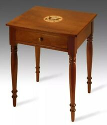 Inlaid Bald Eagle Presidential Antique Nightstand Federal Side End Table Walnut