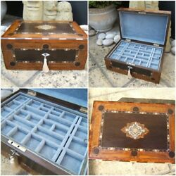 Antique Jewellery Box - Large Early 19c French Inlaid Wonderful Interior