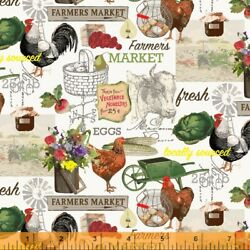 Farmers Market on White Chickens Eggs Vegetables Wildflowers By the Yard