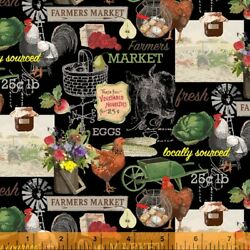 Farmers Market on Black Chickens Eggs Vegetables Wildflowers By the Yard