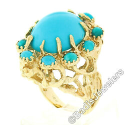 Vintage 18k Gold Large Oval Cabochon Cut Turquoise Open Coral Reef Freeform Ring