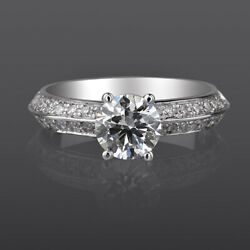 1.41 Carats Diamond Ring Solitaire Accented Women 18 Kt White Gold Size 7 8 9