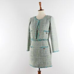 Authentic Vintage Cropped Jacket Skirt Suit Set Tweed Green 36 Us4 S Rare