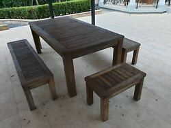 Teak Outdoor Setting Table 4x Benches A Grade Hand Made, A Month Old Still New