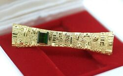 Estate Vintage Jewellery Solid 18k Gold Brooch Natural Peridot Antique Jewelry