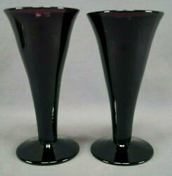 Pair Of Early 19th Century British Hand Blown Amethyst Ale Flute Glasses 1800-20
