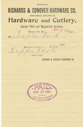 U.s. Richards And Conover Hardware Co. Kansas 1901 And Cutlery Paid Invoice Rf 42319