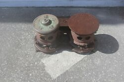 Antique 1880's Monitor Oil Stove Co Double Burner Very Early Cast Iron