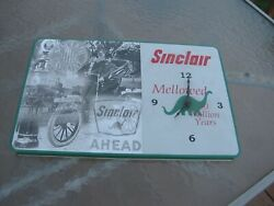 Vintage Sinclair Gasoline Dino Gas Motor Oil Service Station Sign With Clock
