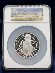 2017 G. Britain 5 Oz Silver Queenand039s Beasts Unicorn Andpound10 Ngc Pf70 One Of 250 Rare