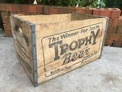 Vintage Wooden Crate Trophy Beer Birk Brewing Chicago Illinois Wood Brewery Box
