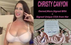 Adult Film Star Christy Canyon Signed Owned/worn Bra W/coa