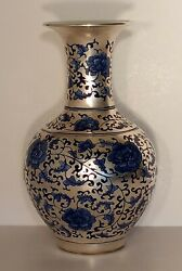 Chinese Qianlong Period Vase With Mark 12h. Magnificent Silver And Blue Gilt