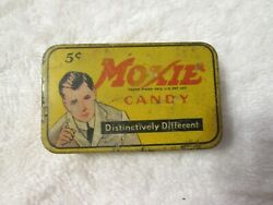 Antique Moxie Candy Tin Box Container Featuring Frank Archer