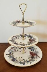 Lenox Winter Greetings Christmas 3 Tiered Tidbit Serving Tray/cake Stand