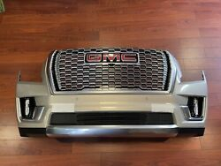 2021 Gmc Denali Front Bumper Assembly With Sensors Camera And Lights Grey