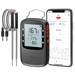 Bluetooth Meat Thermometer Smart Grill 196 Ft Remote Monitor Smoker Bbq Kitchen