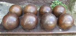 8 Lignum Vitae Balls + Fitted Wood Holder Bowling Boule English Game Sports 1900