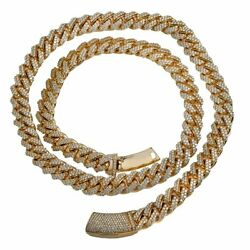 Yellow Gold Plated 925 Sterling Silver Moissanite Cuban Chain 20 Inch