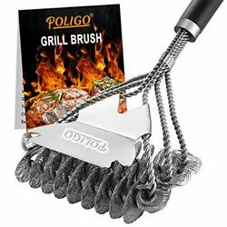 Bbq Grill Cleaning Brush Bristle And Scraper Triple Helix Design For Gas Charcoal