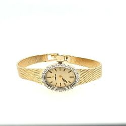 Preowned Omega Solid 14k Gold Quartz Watch With 1/4 Ctw Diamonds