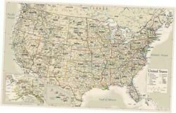 Antique Style Usa Map - Wall Chart Map Of The United States 18 X 29 Laminated