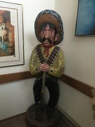 Hand Carved Wooden Drug Store/restaurant Bandito Cowboy Statue Life Size