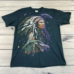 Vintage 1999 Liquid Blue Native American Indian Double Sided Black T Shirt Large